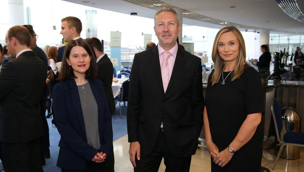 At the official launch of the Belfast Telegraph Top 100 Companies, in association with Arthur Cox, are: Margaret Canning, Belfast Telegraph, Paul McBride, Arthur Cox, and Lynsey Mallon, Arthur Cox.