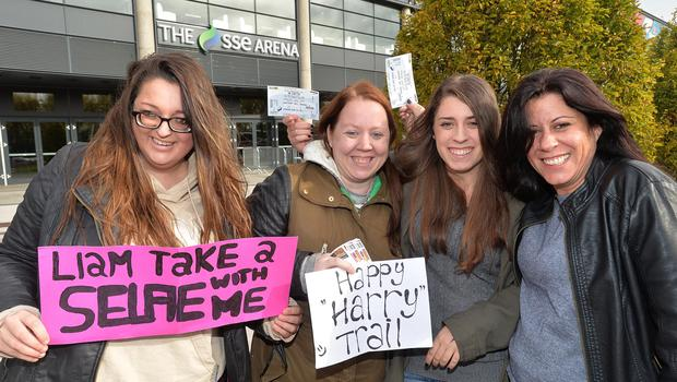 One Direction's fans (L-R) Nikki Leendertsen(Holland) Sabrina Groothuesheidkamp(Holland) Myan and Lorena Whyatt from (Israel) pictured outside the SSE Arena in Belfast for the first of 3 concerts. Picture By: Pacemaker Press