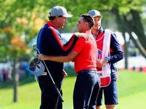 CHASKA, MN - SEPTEMBER 30: Phil Mickelson and Rickie Fowler of the United States react at the end of their round during morning foursome matches of the 2016 Ryder Cup at Hazeltine National Golf Club on September 30, 2016 in Chaska, Minnesota.  (Photo by Andrew Redington/Getty Images)