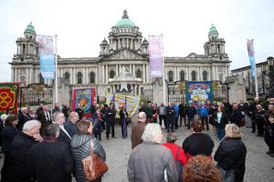 PACEMAKER BELFAST   22/03/2016 Vigil at Belfast City Hall for murdered prison officer Adrain Ismay this lunchtime. Mr Ismay was burried at the same time the vigil took place. He was murdered earlier this month when a group calling itself the New IRA planted a bomb under his van.