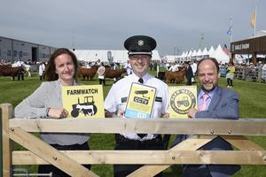 REPRO FREE. 15/5/19: Anthony Harbinson, Director of Safer Communities at the Department of Justice, visited the Balmoral Show to offer support and thank the many partners who work with the DOJ on the Organised Crime Task Force (OCTF). The OCTF used the opportunity to highlight to the public the vulnerabilities exploited by Organised Crime Groups and provided advice and guidance on how to safeguard against crime and, importantly, to report crime. He is pictured with Detective Superintendent Rachel Shields Head of PSNI Organised Crime Task Force and (middle) Chief Superintendent Jonathan Roberts. Picture: Michael Cooper