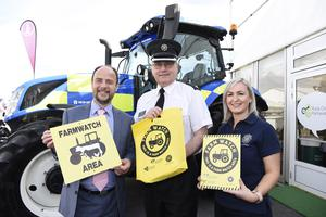 REPRO FREE. 15/5/19: Anthony Harbinson, Director of Safer Communities at the Department of Justice (left), visited the Balmoral Show to offer support and thank the many partner agencies who have joined forces to engage with the rural community to raise awareness of criminal activity and offer guidance on how to protect their property and report suspicious activity.  He is pictured with Shelly Ann Grimes, PSNI Crime Prevention and (middle) Chief Superintendent Jonathan Roberts. Picture: Michael Cooper