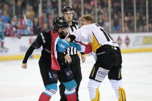 Belfast Giants' Adam Keefe and Nottingham Panthers' Jeff Brown drop their gloves during Fridays Elite Hockey League game at the SSE Arena, Belfast. 20  January 2017 - Picture by Darren Kidd / Press Eye.