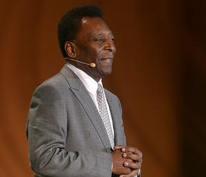 Pele speaks to the crowd during the FIFA 2014 World Cup Draw at the Costa Do Sauipe, Bahia, Brazil.
