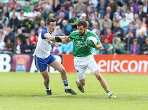 Marching orders: Fermanagh's Ryan McCluskey was shown a red card against Monaghan but manager Pete McGrath disagreed with the decision
