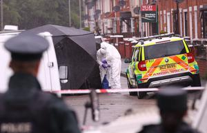 Police at the scene of a murder in the St James' area of west Belfast on June 27th 2020 (Photo by Kevin Scott for Belfast Telegraph)