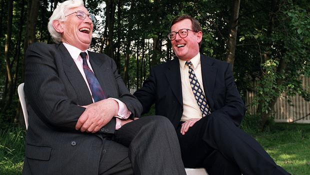 PACEMAKER, BELFAST, 7/10/98: First Minister David Trimble and his Deputy, Seamus Mallon together on the day they were elected to their new roles in the Northern Ireland Assembly.