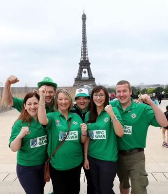 Northern Ireland fans in Paris where Northern Ireland will play their final Euro 2016 group game against Germany at the Parc des Princes.