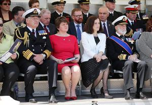 Press Eye - Belfast - Northern Ireland - 31st May 2016 -   HMS CAROLINE MARKS 10,000 IRISH SAILORS IN WW1  HMS Caroline, one of the worldÕs most historically significant war ships, is the focus of a unique commemoration of 10,000 Irish sailors who participated in the First World War on Tuesday May 31.   Moored in Alexandra Dock in BelfastÕs QueenÕs Island the ship which has undergone a major Heritage Lottery Fund-backed restoration programme, joins commemorative events across the UK including Jutland Bank in the North Sea and Kirkwall in Orkney where the British Grand Fleet mobilized ahead of the Battle of Jutland.  Prince Michael Michael of Kent is pictured with Admiral Sir Jonathon Bond, Secretary of State Theresa Villiers and First Minister Arlene Foster at the Commemoration of The Irish Sailor and Centenary of Battle of Jutland ceremonies at Alexandra Dock where HMS Caroline is docked.  Photo by Kelvin Boyes / Press Eye