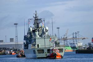 PACEMAKER BELFAST 04/11/2016  NATO Ships arrive in Belfast  NATO Ships from Germany, Portugal, Spain and UK and a NATO Refuelling vessel from Germany are arriving in Belfast today.  Mandatory Credit: Samuel Severn / Pacemaker Press