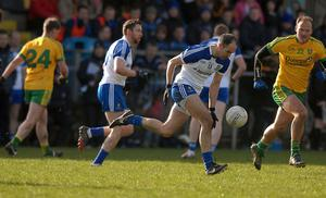 Paul Finlay, on the charge for Monaghan, with Colm Mc Fadden, closing in for Donegal, in the league game in O Donnell Park,