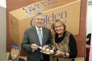 Press Eye - Belfast - Northern Ireland - 15th May 2012 - First day of the 2013 Balmoral Show in partnership with Ulster Bank at the new site, Balmoral Park.  First Minister Peter Robinson meets TV chef Jenny Bristow at the beginning of the show. Picture by Kelvin Boyes / Press Eye