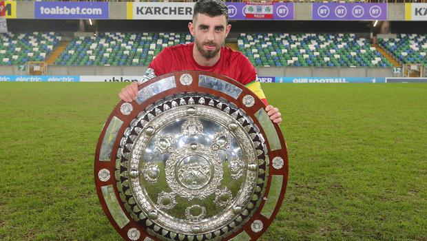 County Antrim Shield Final -  Windsor Park.  21.01.20  Cliftonville FC vs Ballymena United  Cliftonville celebrate after wining the final 2-1 and lift the shield.  Joe Gormley pictured with the shield.   Mandatory Credit ©INPHO/Jonathan Porter