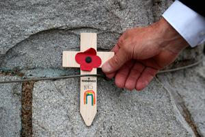 A cross is placed at the war memorial in Inveraray, to mark the 75th anniversary of VE Day. PA Photo. Picture date: Friday May 8, 2020. See PA story MEMORIAL VE. Photo credit should read: Andrew Milligan/PA Wire