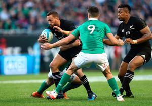 CHICAGO, IL - NOVEMBER 05:  Aaron Cruden of New Zealand is tackled by Conor Murray of Ireland  during the international match between Ireland and New Zealand at Soldier Field on November 5, 2016 in Chicago, United States.  (Photo by Phil Walter/Getty Images)