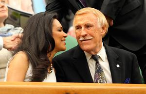 Sir Bruce Forsyth and his wife Wilnelia in the Royal Box on Centre Court during Day Three of the 2011 Wimbledon Championships. PA/PA Wire