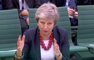 Prime Minister Theresa May answer questions about her Brexit agenda by British MP's at a Parliamentary liaison committee meeting on November 29. Pic PA wire.