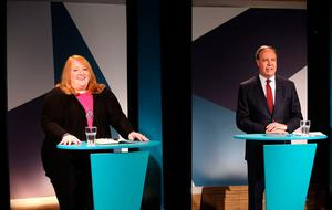 Alliance Leader Naomi Long and DUP Deputy Leader Nigel Dodds at UTV Studios at Havlock House in Belfast for the Westminster Election Debate. PRESS ASSOCIATION Photo. Picture date: Monday June 5, 2017. Photo credit should read: Niall Carson/PA Wire