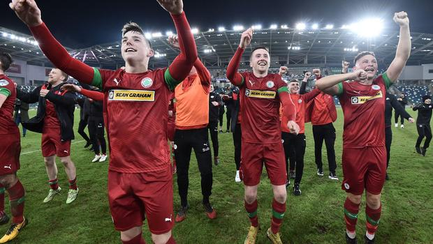 PACEMAKER BELFAST 21/01/2020 Cliftonville v Ballymena County Antrim Shield Final Cliftonville's  Thomas Maguire    celebrates  winning the Co Antrim Shield Final this evening at Windsor Park in Belfast. Photo Colm Lenaghan/Pacemaker Press