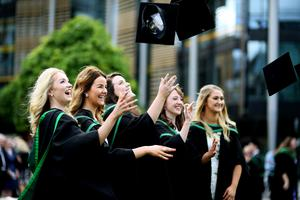 Students celebrate after graduating from Ulster University today. Pic by Paul Moane / Aurora PA