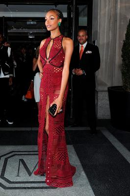 NEW YORK, NY - MAY 04:  Jourdan Dunn departs The Mark Hotel for the Met Gala at the Metropolitan Museum of Art on May 4, 2015 in New York City.  (Photo by Andrew Toth/Getty Images for The Mark Hotel)