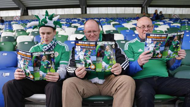 Picture - Kevin Scott / Presseye  Belfast , UK - May 27, Pictured is Northern Irelands Simon and Martin Thompson with Jeff Patterson in action during the last home game before heading to the Euros on May 27 2016 in Belfast , Northern Ireland ( Photo by Kevin Scott / Presseye)