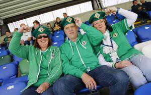 Picture - Kevin Scott / Presseye  Belfast , UK - May 27, Pictured is Northern Irelands Heather and Keith Cassell with Kate Turner in action during the last home game before heading to the Euros on May 27 2016 in Belfast , Northern Ireland ( Photo by Kevin Scott / Presseye)