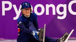GANGNEUNG, SOUTH KOREA - FEBRUARY 20: Elise Christie of Great Britain crashes out during the Ladies Short Track Speed Skating 1000m Heats on day eleven of the PyeongChang 2018 Winter Olympic Games at Gangneung Ice Arena on February 20, 2018 in Gangneung, South Korea. (Photo by Dean Mouhtaropoulos/Getty Images)