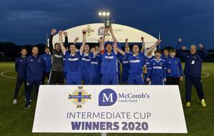 30th July 2020 -  Dollingstown v Newington - Intermediate Cup Final Tandragee Road, Portadown Dollingstowns players celebrate after winning this years Intermediate cup Photo by Stephen Hamilton/Presseye