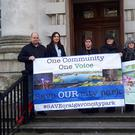 A Craigavon grandmother called Clare McCann (far right) is taking a High Court challenge to the decision to approve a new college campus in a public park near her home. Pictured outside court today with supporters.