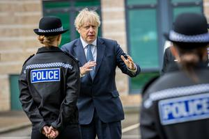 Prime Minister Boris Johnson meeting new recruits at North Yorkshire Police headquarters on Thursday (Charlotte Graham/Daily Telegraph/PA)