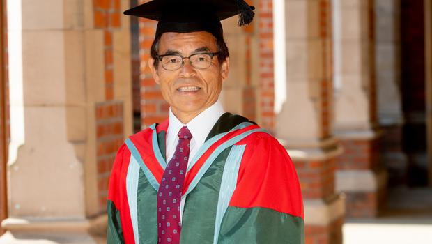 Pictured today at Queen's University Belfast is Shuji Nakamura, a Japanese-born American electronic engineer, who received an honorary doctorate from the University for distinction in engineering.