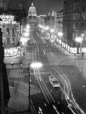 A visitor's view perhaps of Belfast at night, as seen from a bedroom in the Royal Avenue Hotel.  9/11/1966