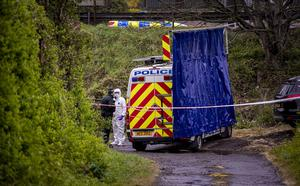 Police and forensics at the scene of a sudden death at the Dromore road in Hillsborough on April 29th 2020 (Photo by Kevin Scott for Belfast Telegraph)