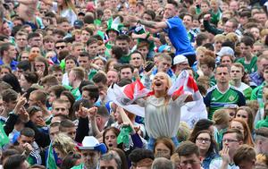 Pacemaker Press Belfast 21-06-2016:  Fans showing their support at the Titanic Fanzone, Belfast Northern Ireland as they watch Northern Ireland V Germany in Euro 2016.  Picture By: Arthur Allison.