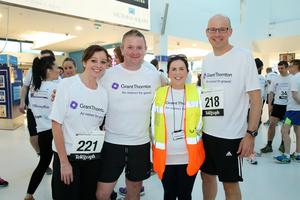 Press Eye - Belfast -  Northern Ireland - 24th June 2015 -  Danielle Foote, Tom Morgan, Louise Kelly and Richard Gillan from Grant Thornton at the first ever Grant Thornton Runway Run at Belfast City Airport this evening. Picture by Kelvin Boyes / Press Eye.