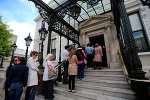 Members of the public queue to sign a book of condolence at Mansion House in Dublin for those killed in the Berkeley balcony collapse. PRESS ASSOCIATION Photo. Picture date: Thursday June 18, 2015. See PA story IRISH Balcony. Photo credit should read: Niall Carson/PA Wire