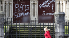 Sectarian graffiti has been daubed on a Catholic church in east Belfast. Slogans supporting the Ulster Volunteer Force were painted on the doors of St Anthony's Church in Willowfield. Photo Presseye