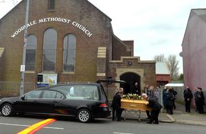 The funeral  of murdered prison officer Adrian Ismay at Woodvale Methodist Church, Belfast.