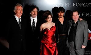 2008: Alan Rickman, Tim Burton, Helena Bonham Carter, Johnny Depp and Timothy Spall at the premiere of Sweeney Todd: The Demon Barber of Fleet Street at the Odeon West End Cinema, Leicester Square, London. Joel Ryan/PA Wire
