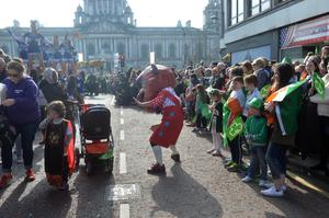 PACEMAKER BELFAST   17/3/2016 St Patrick's day celebrations in Belfast city centre this afternoon. Thousands lined the route from Belfast City Hall to Custom House Square where an open air concert will take place. Photo Colm Lenaghan/Pacemaker Press