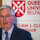 EU Brexit negotiator Michel Barnier delivers a lecture at Queen's University Belfast (Liam McBurney/PA)