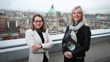 Suzanne Wylie, City Council chief executive, and Jackie Henry of Deloitte with the 2020 Belfast Crane Report