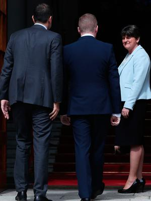 DUP leader Arlene Foster and DUP's Simon Hamilton (centre) with Taoiseach Leo Varadkar (left) at Government Buildings in Dublin for a meeting. PRESS ASSOCIATION Photo. Picture date: Friday June 16, 2017. See PA story ULSTER Politics. Photo credit should read: Brian Lawless/PA Wire