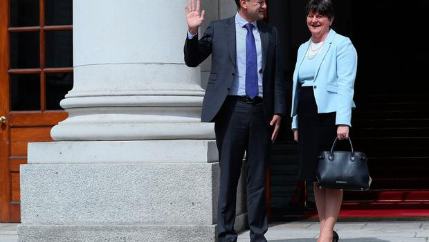 Taoiseach Leo Varadkar welcomes DUP leader Arlene Foster to Government Buildings in Dublin. PRESS ASSOCIATION Photo. Picture date: Friday June 16, 2017. See PA story ULSTER Politics. Photo credit should read: Brian Lawless/PA Wire