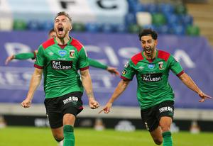 Press Eye - Belfast - Northern Ireland - 31st July 2020 -   Sadler's Peaky Blinder Irish Cup Final at the National Football Stadium at Windsor Park - Ballymena United FC v Glentoran FC.   GlentoranÕs Robbie McDaid celebrates after he scores to make it 2-1 in the last minutes of extra time.  Photo by Jonathan Porter Press Eye.