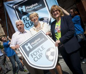 The Mayor of Derry City and Strabane District Council, Alderman HIlary McClintock pictured with Michael Hutton, organiser, Hughes Insurance Foyle Cup and Kim Hetherington, Acting Branch Manager, Hughes Insurance, Derry.