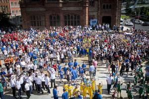 The scene in Guildhall Square, Derry on Tuesday afternoon for the opening speeches of the 2016 Hughes Insurance Foyle Cup parade. (Photos: Jim McCafferty Photography)