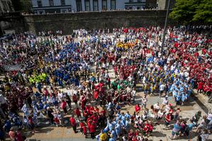 The massive sea of colour in Guildhall Square on Tuesday afternoon as the Hughes Insurance Foyle Cup parade descended.
