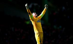 GLASGOW, SCOTLAND - MARCH 01:  Celtic goalkeeper Craig Gordon celebrates the third Celtic goal during the Scottish Premiership match between Celtic and Aberdeen at Celtic Park Stadium on March 1, 2015 in Glasgow, Scotland.  (Photo by Stu Forster/Getty Images)